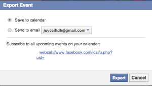 Choose how you want to export the facebook event.