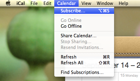 Subscribe to our Calendar in iCal
