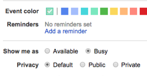 Set the event's color, privacy settings, and reminders